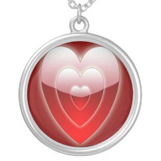 バレンタインデーの赤く及び白いハートのネックレス シルバープレートネックレス