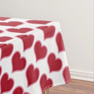 バレンタインデーの赤と白のハートパターン愛 テーブルクロス