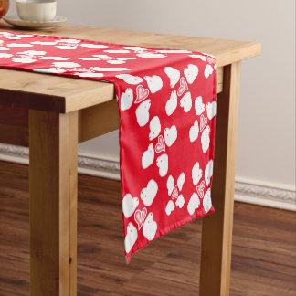 バレンタインデーの赤と白のヒツジのテーブルのランナー ショートテーブルランナー
