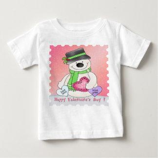 バレンタインデーの雪だるまの乳児のTシャツ ベビーTシャツ