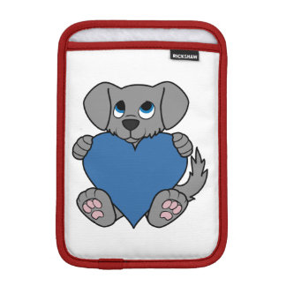 バレンタインデーの青いハートの灰色の小犬 iPad MINIスリーブ