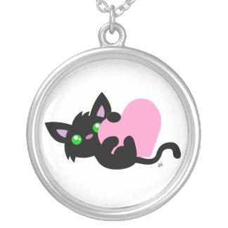 バレンタインデーの黒の子猫のネックレス シルバープレートネックレス