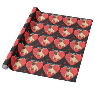 バレンタインデーのbullmastiffの子犬の包装紙 ラッピングペーパー