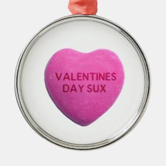 バレンタインデーはピンクキャンデーのハートを吸います メタルオーナメント
