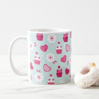 バレンタインデーキャンデーのハートのカップケーキの花 コーヒーマグカップ