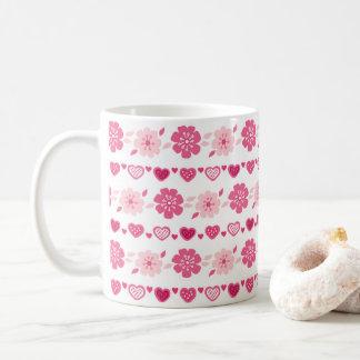 バレンタインデーキャンデーのハートの花模様 コーヒーマグカップ