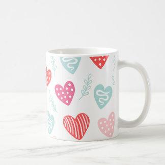 バレンタインデーキャンデーのハートの赤いピンクパターン コーヒーマグカップ