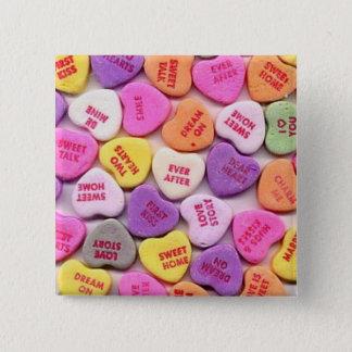 バレンタインデーキャンデーのハートボタン 缶バッジ