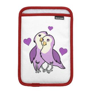 バレンタインデーハートを持つ紫色愛鳥 iPad MINIスリーブ