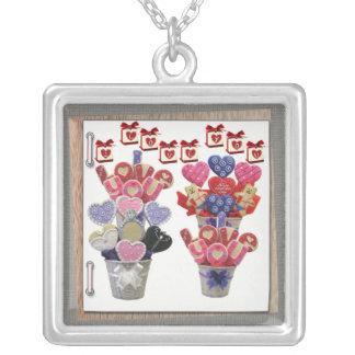 バレンタインデー愛正方形の銀のネックレス シルバープレートネックレス