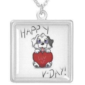 バレンタインデー犬のネックレス シルバープレートネックレス