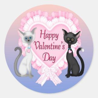 バレンタインデー猫の円形の封筒用シール ラウンドシール