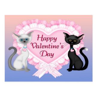 バレンタインデー猫の郵便はがき ポストカード