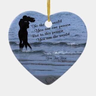 バレンタインデー私の世界メッセージです セラミックオーナメント