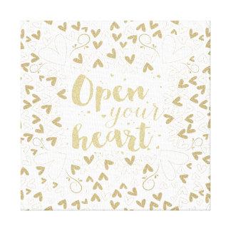 """バレンタインデー- """"あなたのハート""""の金ゴールド開けて下さい キャンバスプリント"""