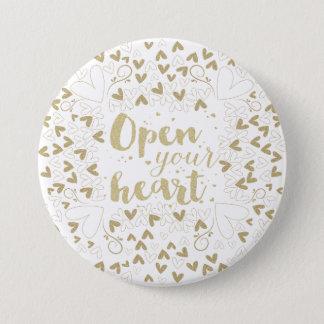 """バレンタインデー- """"あなたのハート""""の金ゴールド開けて下さい 7.6CM 丸型バッジ"""