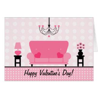 バレンタインデー-ピンクの居間 カード