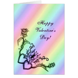 バレンタインデー-虹のハートそして蝶 カード