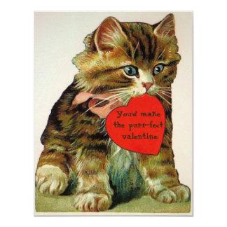 バレンタインメッセージカードを握っているヴィンテージ猫 カード