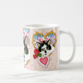 バレンタイン妖精猫のタキシード猫のファンタジーの芸術のマグ コーヒーマグカップ