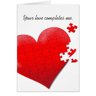 バレンタイン愛ハートのジグソーパズルカード カード