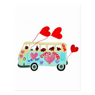 バレンタイン愛可動装置のダックスフントのキューピッド ポストカード