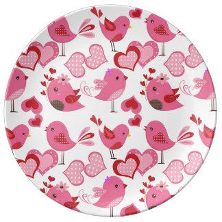 バレンタイン愛鳥 磁器プレート
