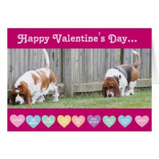 バレンタイン-おもしろいなバレンタインデーカードのバセット犬 カード