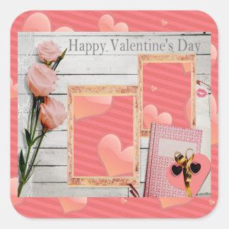 バレンタイン、ピンクのバラ、ハートはあなたの写真を加えます スクエアシール