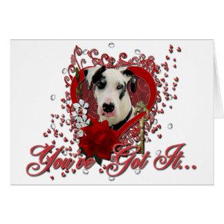 バレンタイン-私のハートへの鍵-グレートデーンの道化師 カード