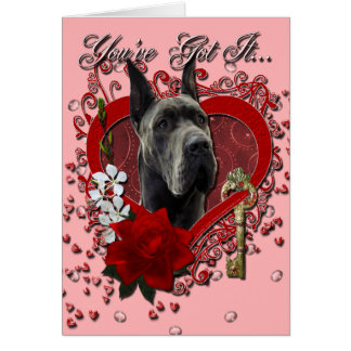 バレンタイン-私のハートへの鍵-グレートデーン-灰色 カード