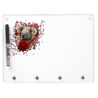 バレンタイン-私のハートへの鍵-コアラ キーホルダーフック付きホワイトボード