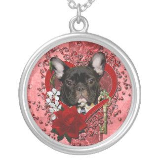 バレンタイン-私のハートへの鍵-フレンチ・ブルドッグ シルバープレートネックレス