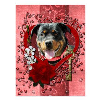 バレンタイン-私のハートへの鍵-ロットワイラー ポストカード