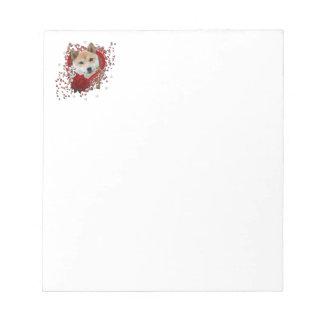 バレンタイン-私のハートへの鍵-柴犬 ノートパッド