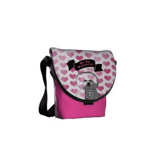 バレンタイン- Bichon Friseのシルエット メッセンジャーバッグ