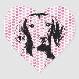 バレンタイン- Vizslaのシルエットレーガン ハートシール
