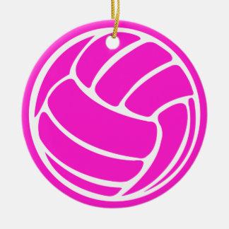 バレーボールのシルエットのオーナメントのピンク セラミックオーナメント