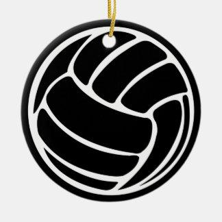 バレーボールのシルエットのオーナメントの黒 セラミックオーナメント