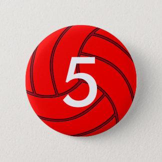 バレーボールのジャージー赤い数円形ボタン 缶バッジ