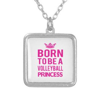 バレーボールのプリンセスのネックレスがあるために生まれて下さい (pink) シルバープレートネックレス