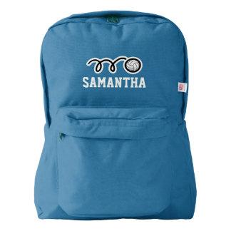バレーボールのロゴの名前入りで青いバックパック AMERICAN APPAREL™バックパック