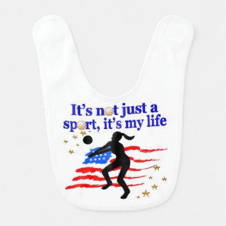 バレーボールの生命米国の旗のデザイン ベビービブ