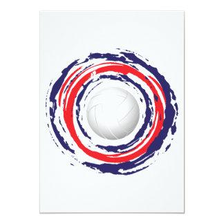バレーボールの赤い青および白1 カード