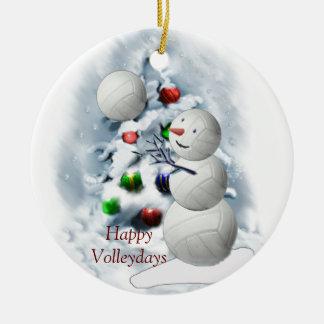 バレーボールの雪だるまのクリスマス セラミックオーナメント