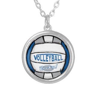 バレーボールは青および銀を揺すります シルバープレートネックレス