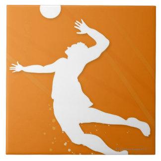 バレーボールを遊んでいる人のシルエット タイル