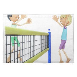 バレーボールを遊んでいる漫画の人 ランチョンマット