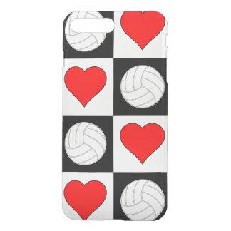 バレーボール及び黒いハート及び白いチェック模様の箱 iPhone 8 PLUS/7 PLUS ケース