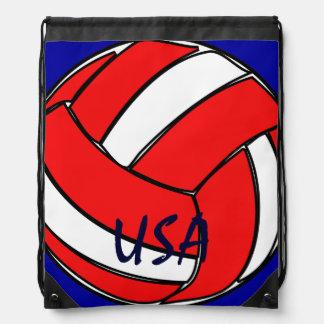 バレーボール米国の赤い白くおよび青 ナップサック